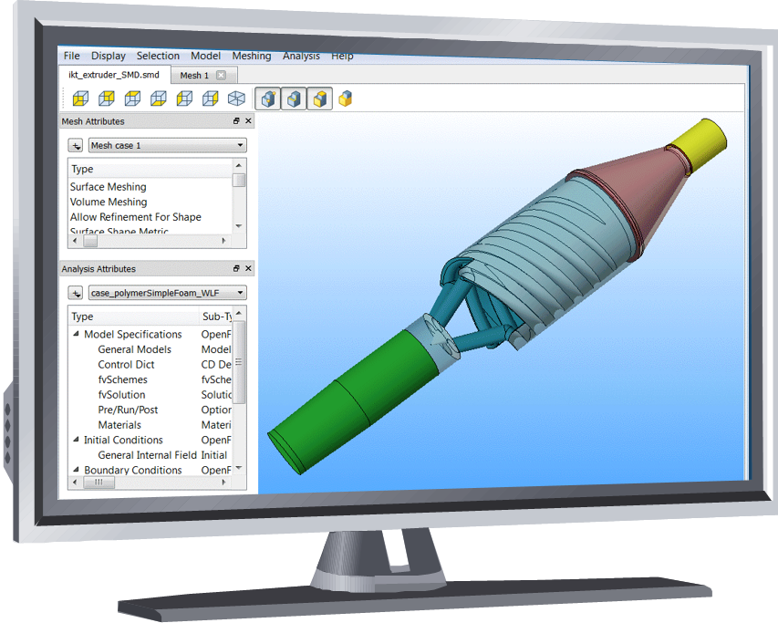 CFD-model of an extruder for plastics applications