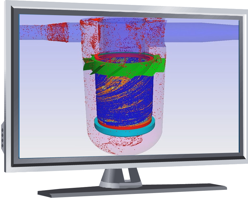 CFD-water filter showing particles